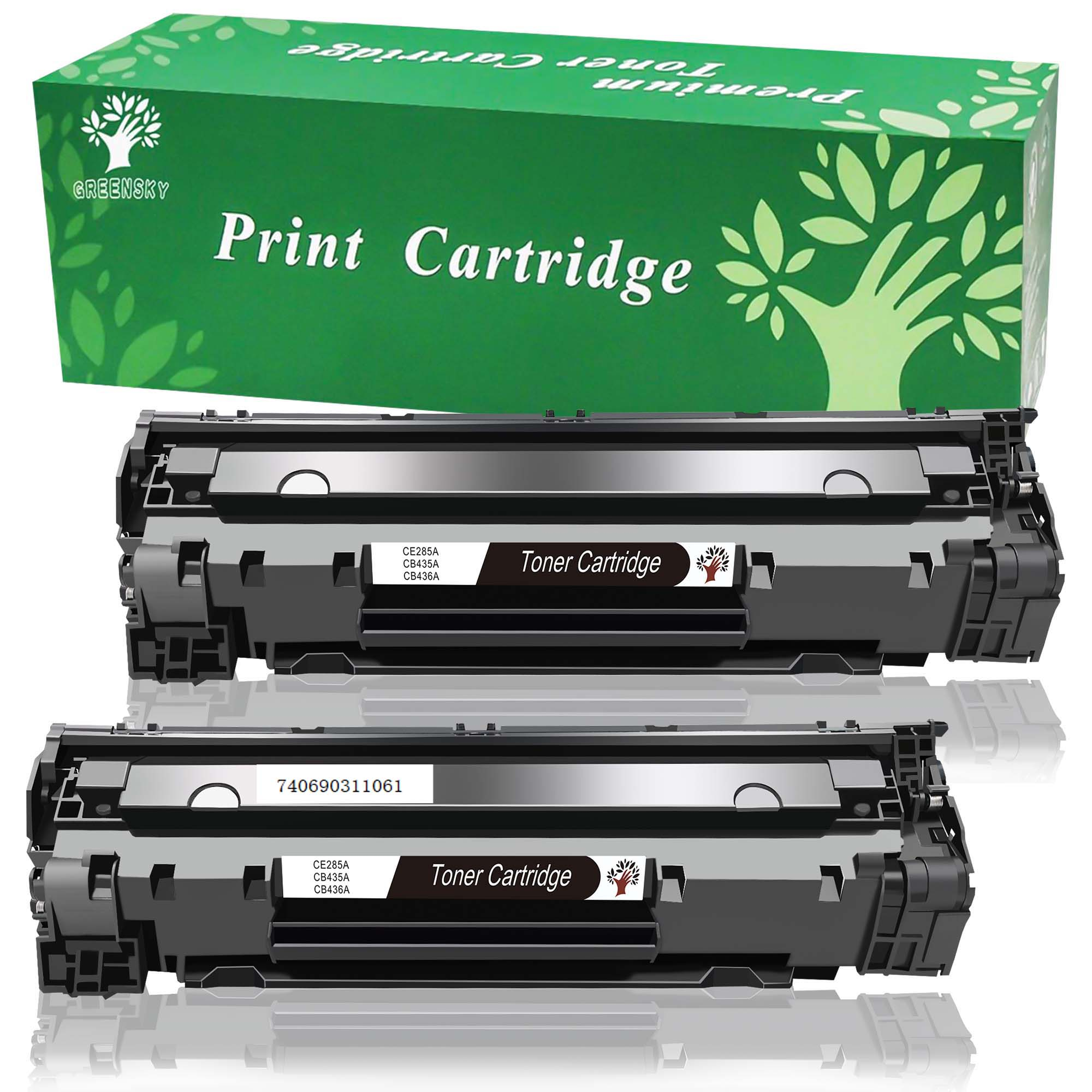 Greensky 2 Black Remanufactured Replacement Ce285a 85a Laser Toner Compatible Cartridge Printer P1102 Laserjet 1500 Page Yield For Jet P1005 P1006 P1102w Series Printers